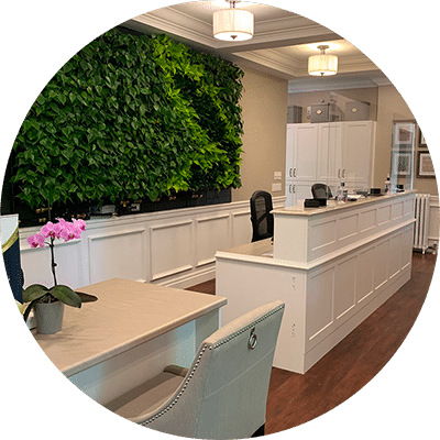 White front desk with faux leaf wall behind it